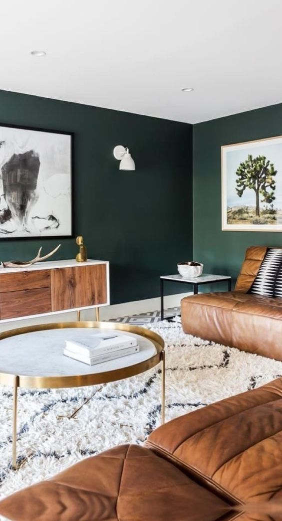 Dark Green Walls Contrast Warm Brown Leather Furniture And