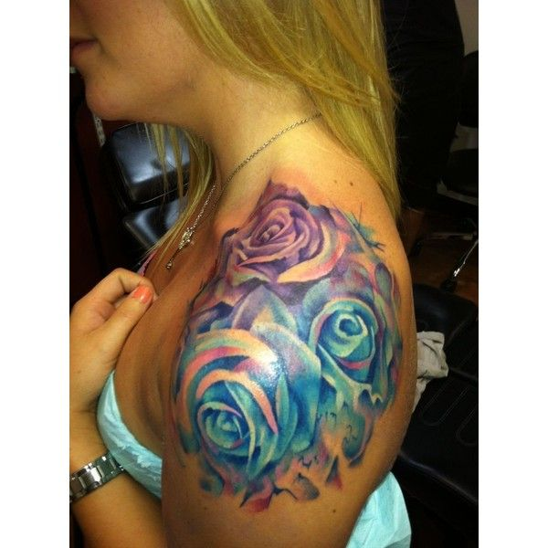 Amazing watercolor rose tattoo on shoulder for girls ❤ liked on Polyvore featuring tattoos
