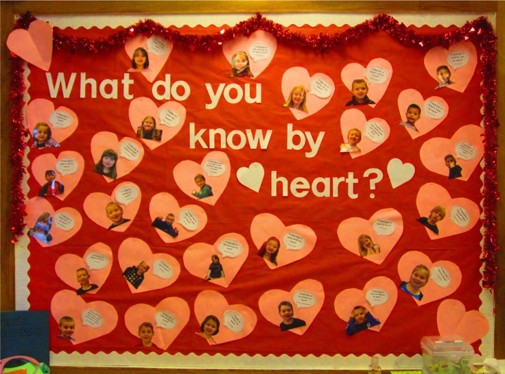 """""""what do you know by heart?"""" bulletin board"""