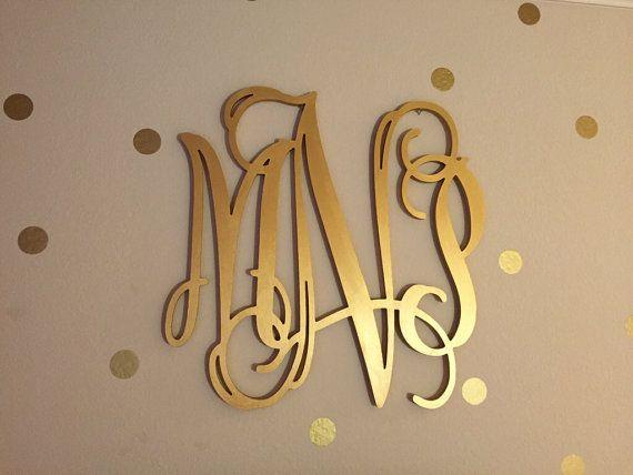 Gold Wooden Monogram - Wall Hanging Letters - Monogram Door Hanger - Nursery Decor Wood Monogram - Wedding Monogram