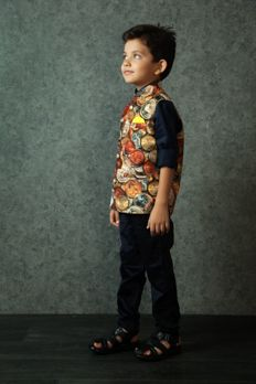 Digital print jodhpuri jacket highlighted with buttons with satin-cotton shirt from #Benzer #Benzerworld #kidswear