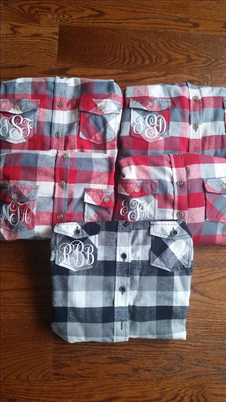 Flannel shirt party  Personalized flannel shirts for everyone in the bridal party from