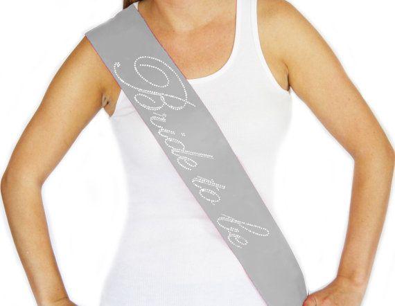 Rhinestone Bride to Be Cursive Silver Sash, Wedding Sash, Bridal Shower, Bachelorette Party, Engagement Party