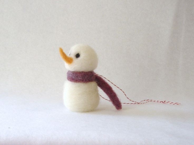 snowman Christmas ornament - needle felted wool -  tree decoration - made to order. $9.00, via Etsy.