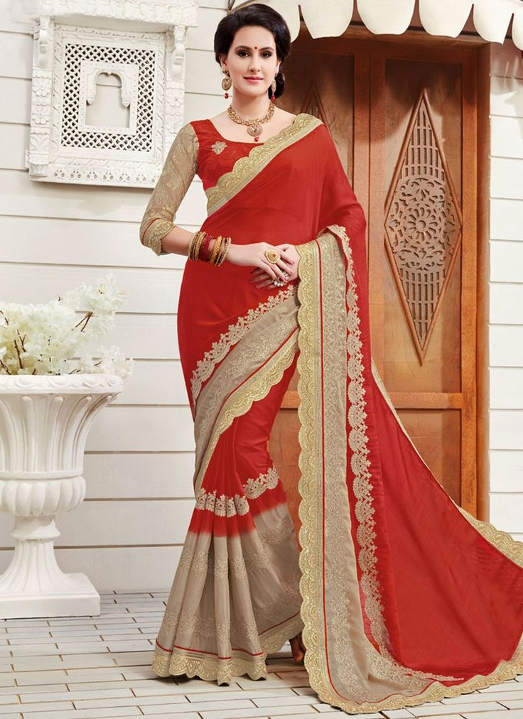 Buy latest saree from our different range of sarees online. Grab this faux chiffon red designer saree