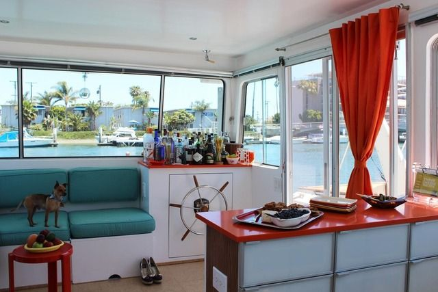 tracy and marty metro's houseboat. belmont shore - long beach, california. 1975 40' harbor master houseboat.