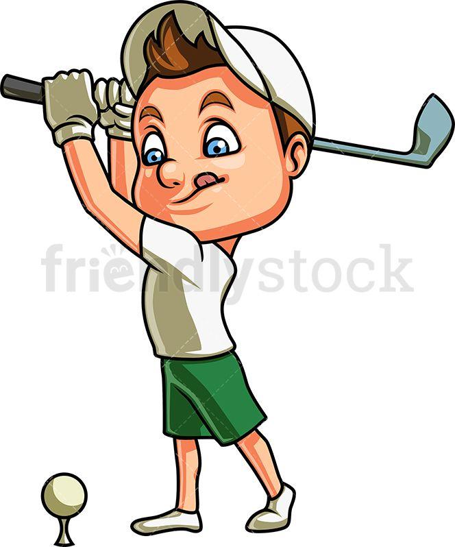 Little Boy Playing Golf Cartoon Clipart Vector Friendlystock Cartoon Clip Art Kids Golf Clubs Boys Playing