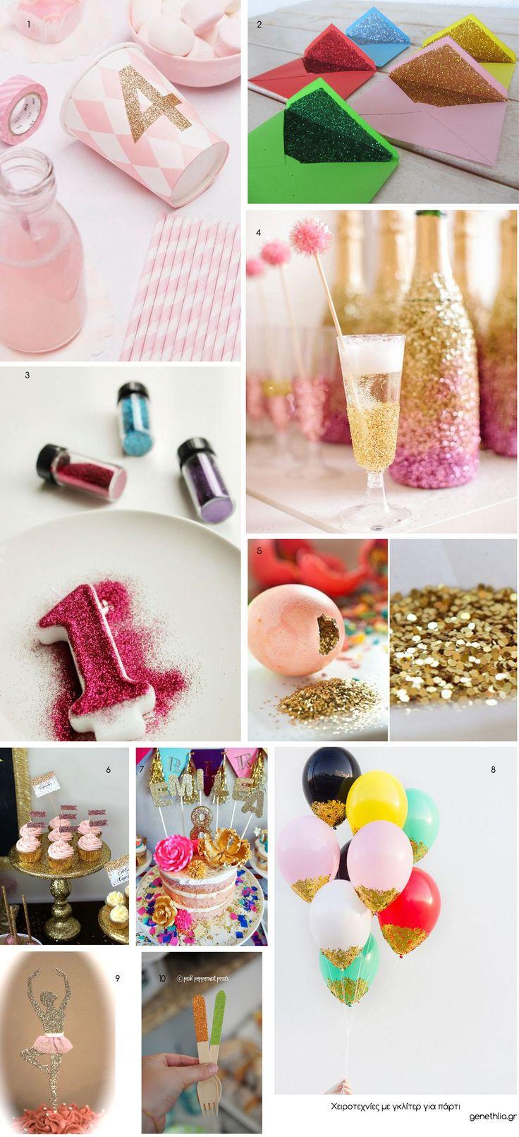 χειροτεχνιες με γκλιτερ - glitter party ideas