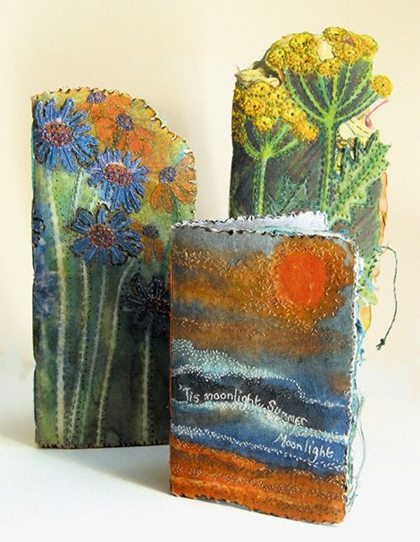 'A Group of Journals' all using transfer dye and pelmet vilene for the covers by Frances Pickering.