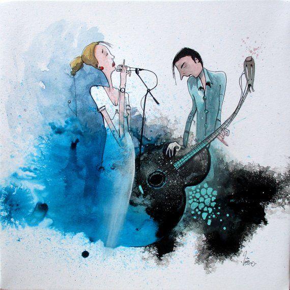 Peinture Carree D Une Illustration A L Aquarelle Et Encre Bleue