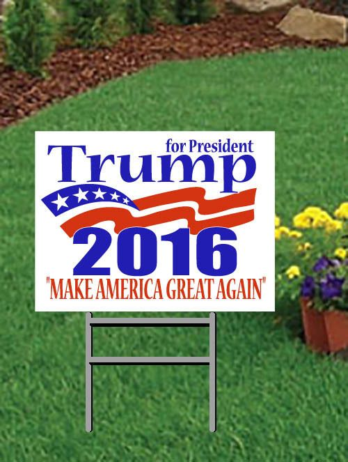 Donald Trump For President 2016 Campaign Lg Outdoors Yard Signs 2 sided w/stakes