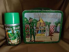 VINTAGE 1956 ROBIN HOOD LUNCH BOX & THERMOS SET BY ALADDIN