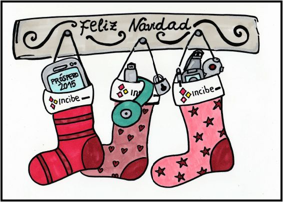 Boceto felicitación navidad Calcetines en chimenea #Technology #Doodle