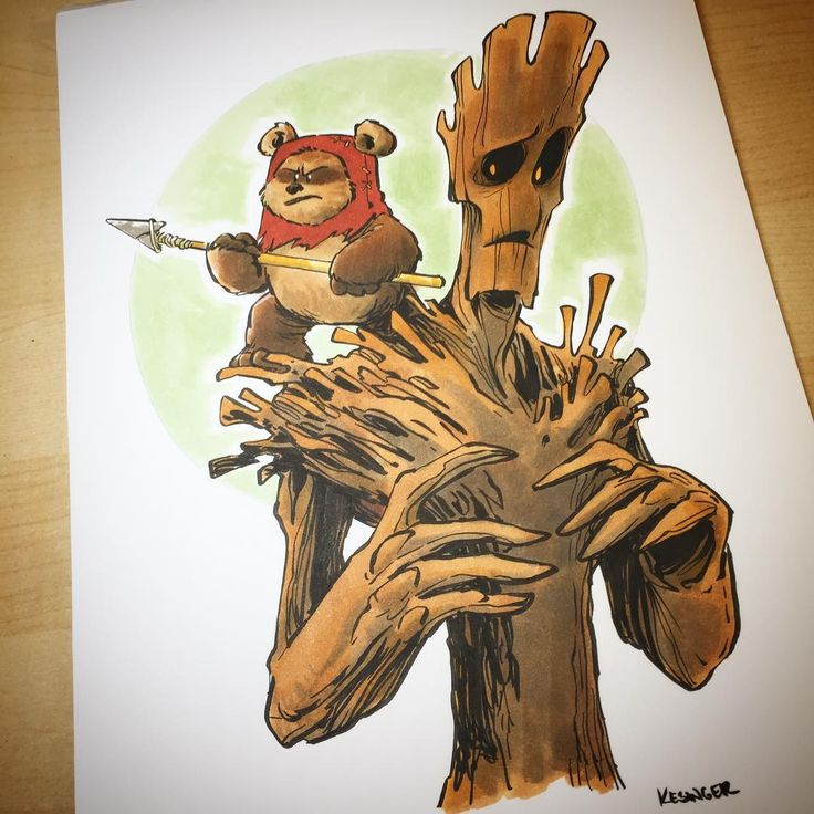 "3,402 Me gusta, 24 comentarios - @briankesinger en Instagram: ""Commissioned #starwars and #marvel mashup. #wicket #groot #ewok #guardiansofthegalaxy"""