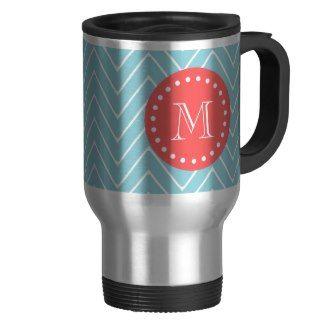 Blue and Coral Chevron with Custom Monogram Mug