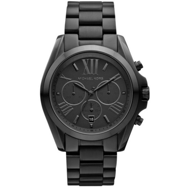 Michael Kors  Michael Kors Mid-Size Black Tone Stainless Steel... (8,275 THB) ❤ liked on Polyvore featuring men's fashion, men's jewelry, men's watches, black, mens stainless steel watches, mens chronograph watches, michael kors mens watches and mens oversized watches