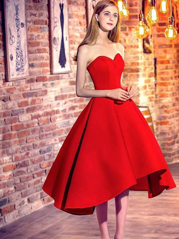 2fed2540f43e Short/Mini A-Line/Princess Sleeveless Sweetheart Satin Dresses in ...