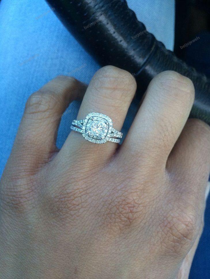14K White Gold Finish 2.00 CT Cushion Cut Simulated Diamond Halo Engagement Ring #beijojewels