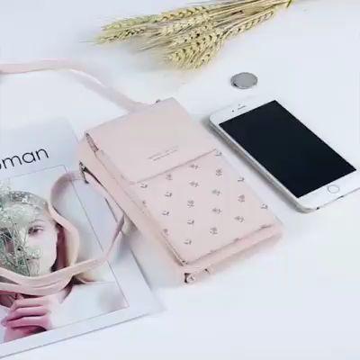 New PU Ladies Mobile Phone Bag Solid Color Shoulder Bag