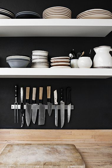 Lack white shelfs and Grundtal magnet for knives over black wall