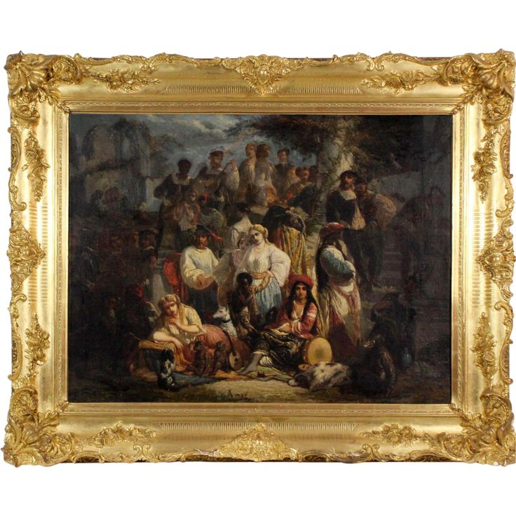 Author: Unknown Century: 19th Description: In place of a bottom right signature: the painting title: Bohémiens et Saltimbanques  A high quality