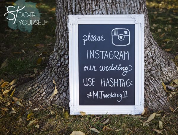 DIY: Chalkboard from Cost Plus. Use a chalk marker from Michaels (found in the wedding section) simply write message to the guests including special wedding #hashtag. Place at the entrance to ceremony and then somewhere visible during reception. Love!