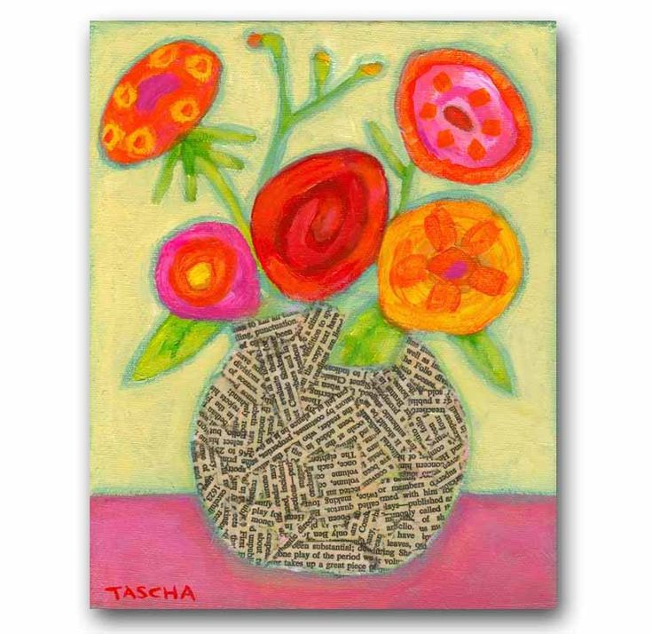 ORIGINAL mixed media FLOWERS in a vase primitive folk art 8x10 painting by tascha