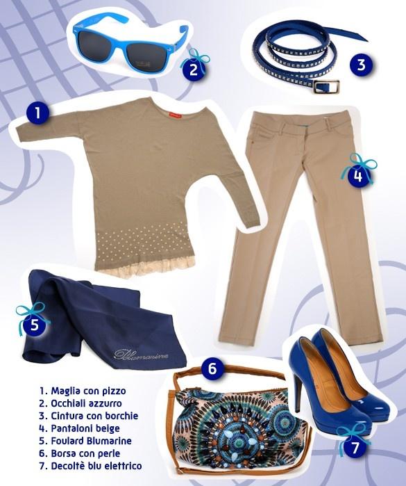LOOK ELEGANTE DONNA    Oggi proponiamo un look elegante per donna amante dello stile!  Maglia e pantaloni sobri color beige, con l'aggiunta di accessori di colore blu elettrico.  Cintura blu con borchie in metallo, foulard della Blumarine e scarpe decoltè con tacco altissimo in tinta.  E per le giornate soleggiate occhiali vintage in colore azzurro acceso!    Prova anche tu questo bellissimo stile!