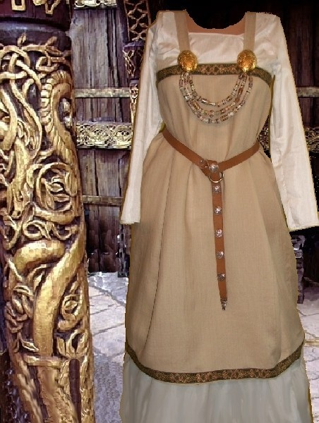 Norse Viking SCA Garb Linen Apron over Muslin Cotton Kirtle 2 piece Costume.