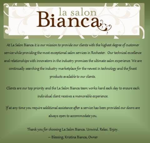 Lasalonbianca bestsalon mission statement hair by for A mission statement for a beauty salon
