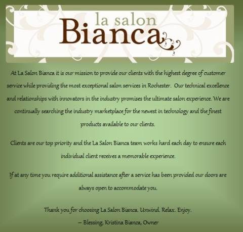 145 best hair by kristina at la salon bianca images on for A mission statement for a beauty salon