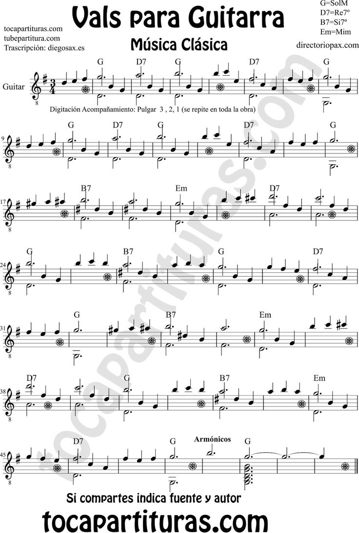 Sheet music for classical guitar vals partitura de un vals for Partituras de guitarra clasica