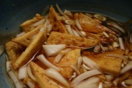 dry-fried and marinated tofu, ready to be added to a stir-fry