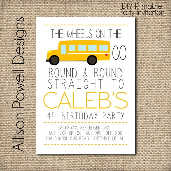 School Bus, Wheels On The Bus Birthday Party Invitation - Print your own