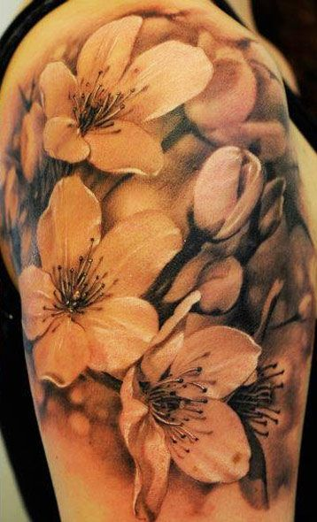 No-line Flower Tattoo Design. So much more realistic than with the outline...  so beautiful,