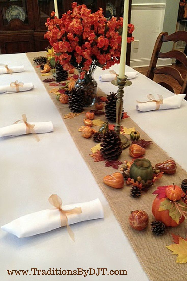 #Thanksgiving #tablescape by Traditions By DJT. Chocolate brown tablecloth and napkins with a burlap runner and fall decor.