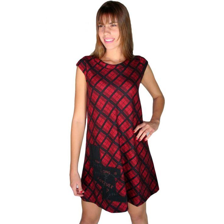 ATTRATTIVO,Αμάνικο καρό πετσετέ μίντι φόρεμα, μαύρο-κόκκινο χρώμα