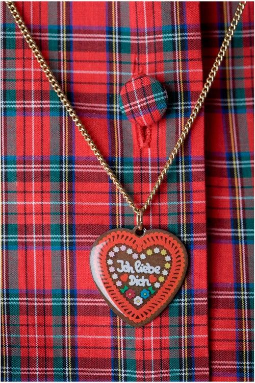Gingerbread Heart Necklace- I LOVE YOU in German- Tatty Devine