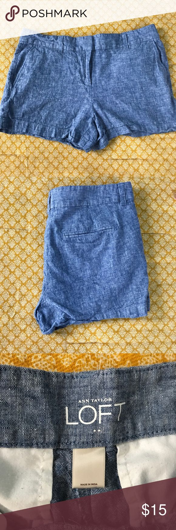 """Loft Factory Chambray 4"""" Shorts Size 8! Ann Taylor Loft Outlet Chambray 4"""" Shorts. Cute and light and perfect to pair with Sperrys and a striped shirt ☺️ Measurements: 17"""" waist, Rise 9 1/2"""" LOFT Shorts"""