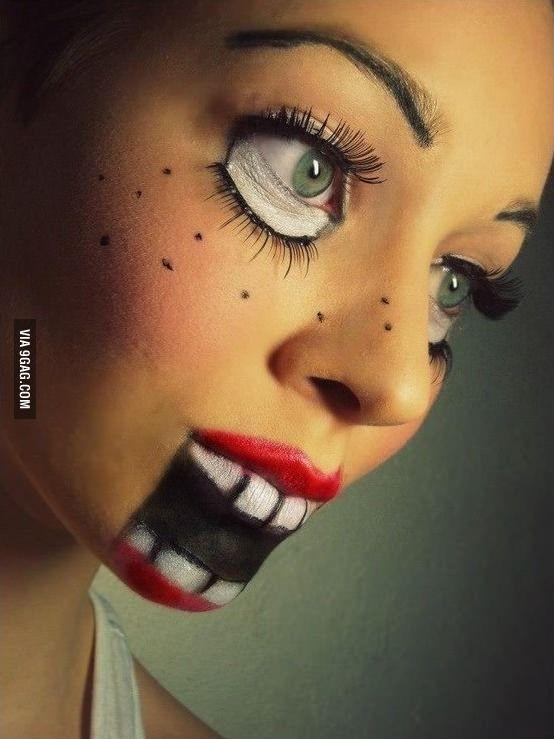 Creepy doll make-up