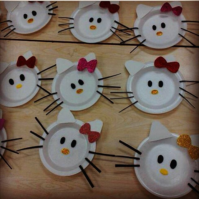 paper plate hello kitty craft