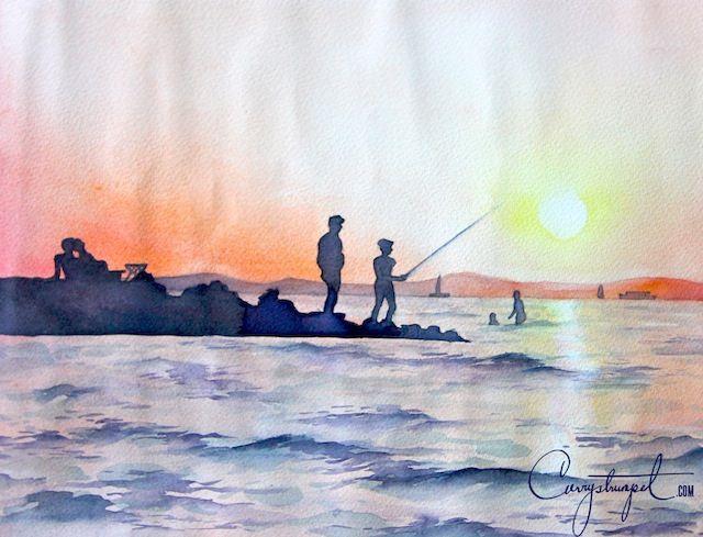 #watercolor sunset at lake balaton, #hungary