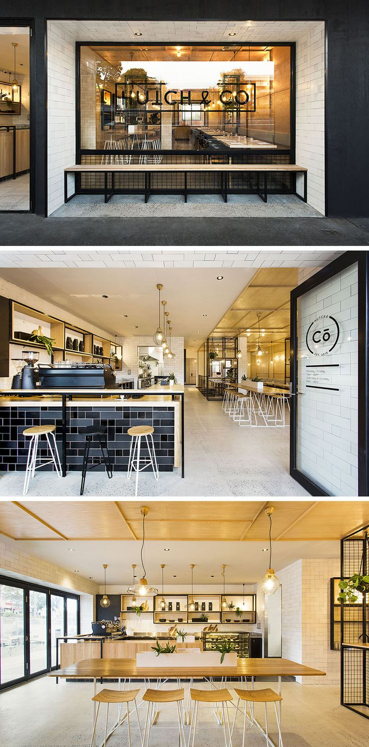 Biasol designed Hutch & Co, a cafe and restaurant in Melbourne, Australia, that combines black elements like window frames, tiles and metal work with light wood and white furniture, and concrete floors.