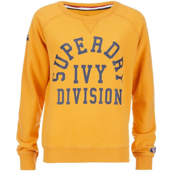 Superdry Women's Tri League Crew Sweatshirt - Tri League Ochre ($45) ❤ liked on Polyvore featuring tops, hoodies, sweatshirts, orange, orange sweatshirt, crewneck sweatshirt, crew neck tops, logo top and long sweatshirt