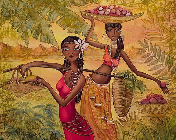 Африканские девушки, девушки, картина, природа, цветок, крестьянки, ноша, африка, негретянки, фрукты