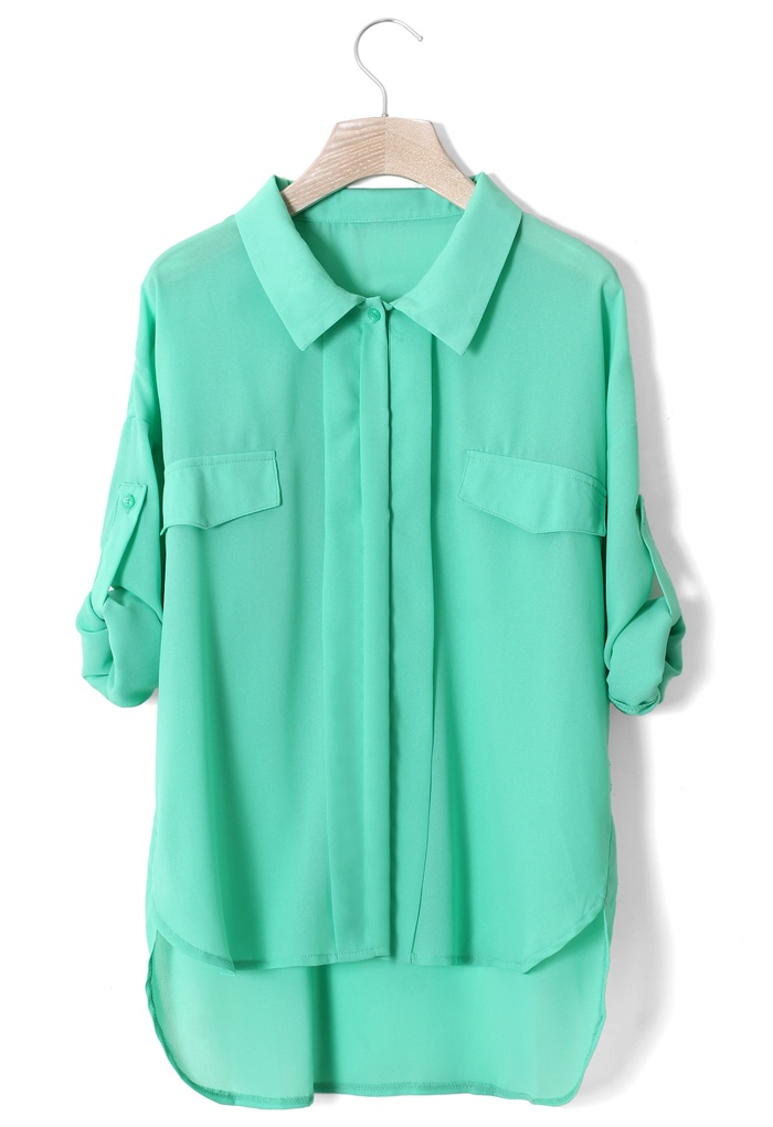 Mint Green Double Pockets Shirt - New Arrivals - Retro, Indie and Unique Fashion