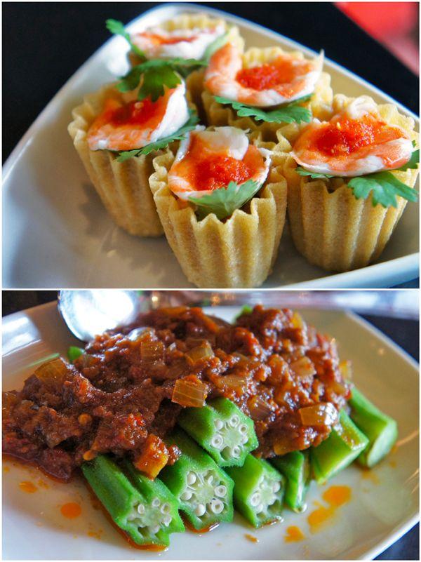 Cingapura! Kueh Pie Tee: cestinhas de massa de arroz recheadas com camarões, alho, cebola, cenoura e ovos; Sambal Bendy: quiabos cozidos com molho picante de camarão