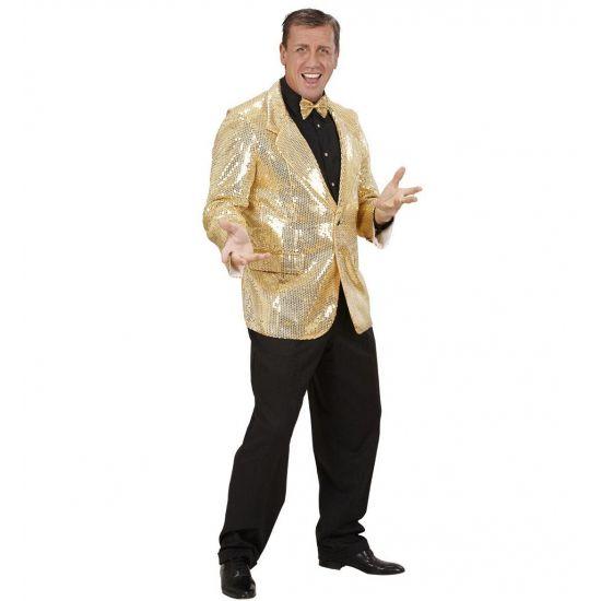 Colbert pailletten goud voor heren. Deze luxe glitter colbert met gouden pailletten heeft twee zakken en is gemaakt van katoen en polyester. Deze gouden glitter colbert maakt uw feest outfit compleet!