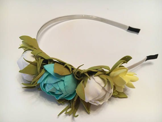 Valentines day gift Boho blue wedding crown Something blue
