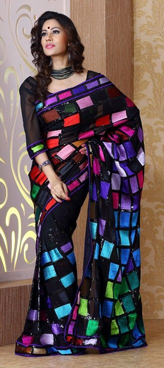 120727: Mosaic art looks the best on black base. This saree is such a master piece. #diwali